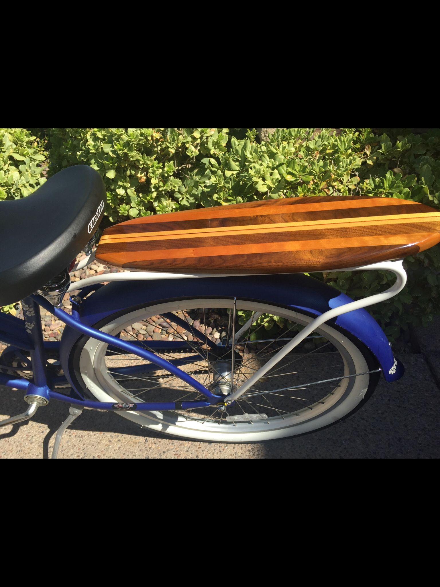 bicycle retro rear wood rack beach