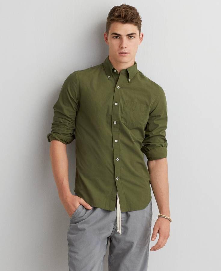 American Eagle Solid Poplin Button Down Shirt, Men's, Deep Forest