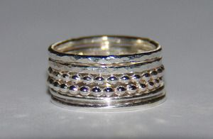Set of 5 rustic silver stack rings