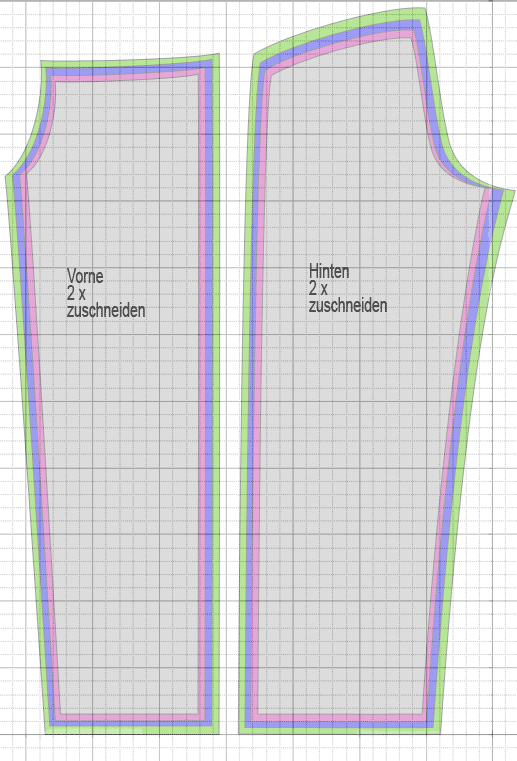 Wellnesshose Schnittmuster auf Karopapier 2x2cm, große Karos 10cm ...