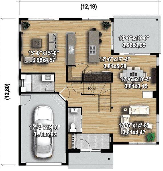 Planos de casas en terrenos de 250 metros cuadrados for Casas modernas 120 metros cuadrados