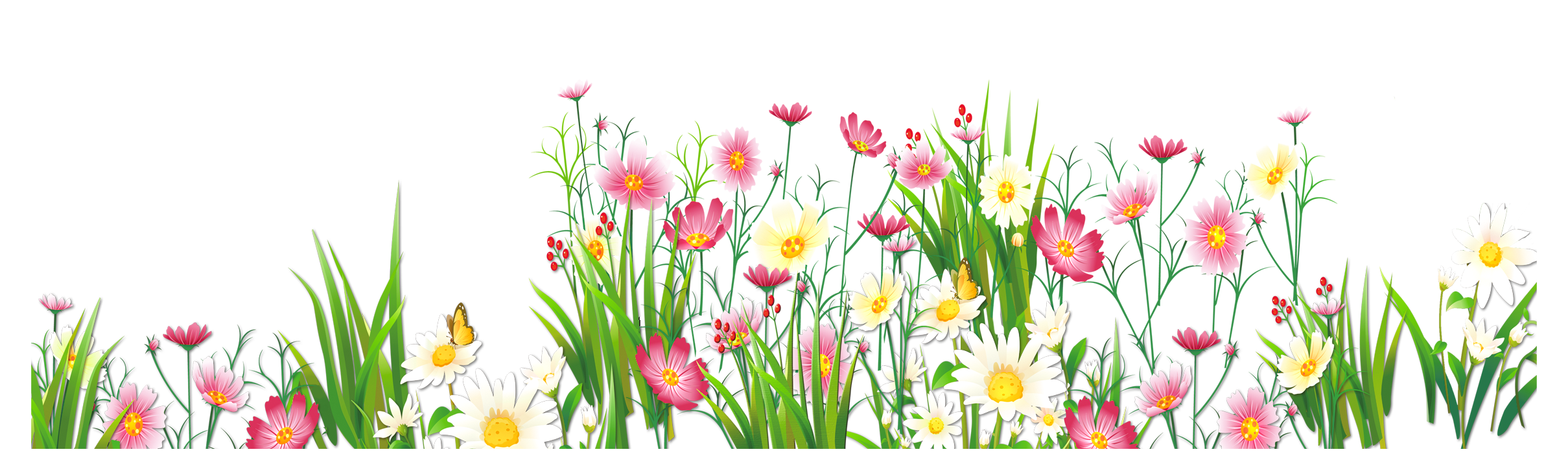 Flowers and Grass PNG Picture Clipart (With images
