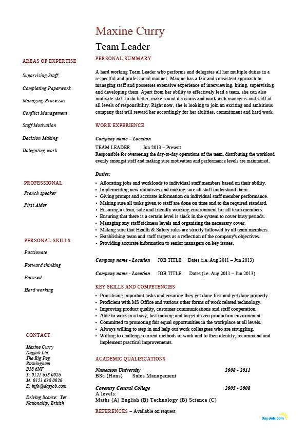 Leadership Resume Examples New Resume Examples Leadership  Cv Examples Team Leader And Job Work
