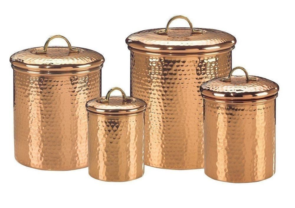 copper canister set kitchen ware hammered cookware food