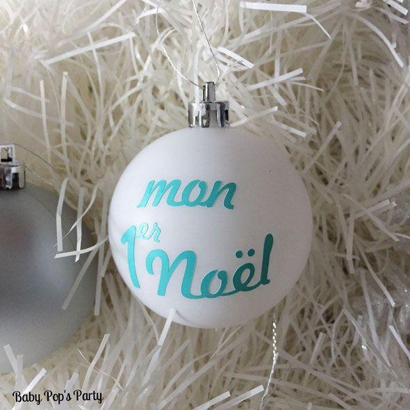"""""""Mon 1er Noël"""" boule de noël sur demande personnalisée By Baby Pop's Party"""