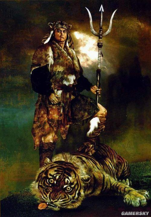 """035-天哭星-雙尾蠍-解寶解寶,解珍之弟,同哥哥一樣打扮,穿虎皮套襖,提一把鋼叉。兄弟倆出成雙,死成對,作戰英勇。被封為梁山步軍第十名頭領,外號""""雙尾蠍""""。"""