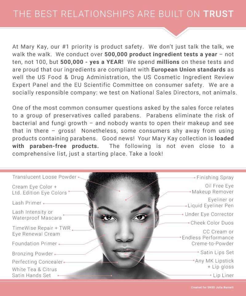 Paraben free products Mary kay cosmetics, Mary kay