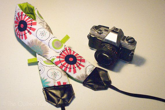 DSLR SLR Padded Camera Strap  Gracie Girl by TheQuiltedValkyrie, $35.00