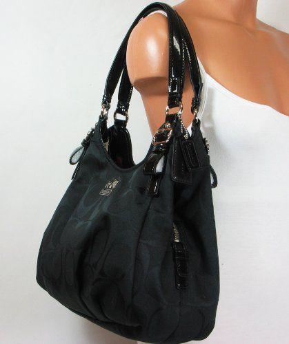 Coach Signature Madison Maggie Shoulder Hobo Bag Purse Tote 18762 Black b3a5f3545ee72