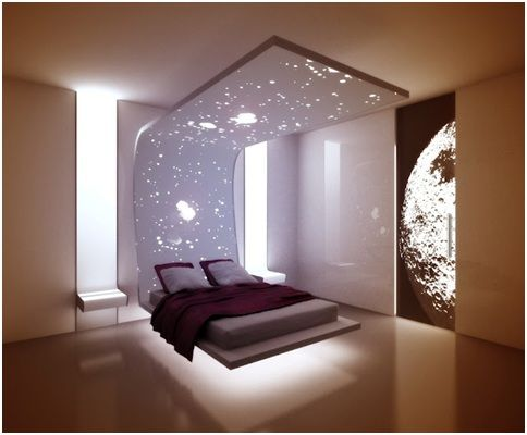 Amazing floating bed in a minimalist bedroom beds for Minimalist bedroom designs small space