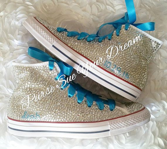 53838281a98a4 Swarovski Crystal Rhinestone High Top Converse Shoes - Wedding Shoes ...