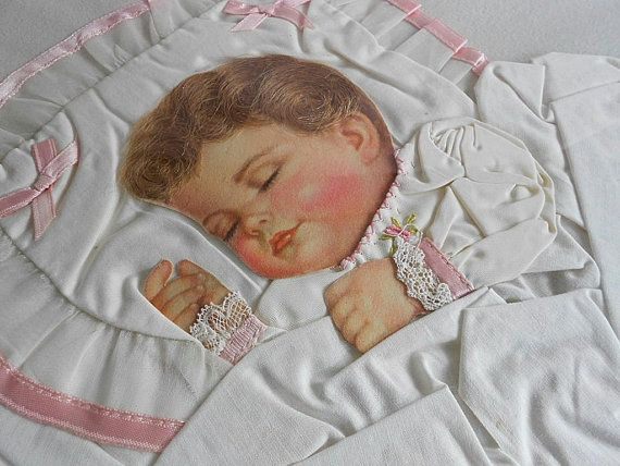 1940 Baby Paper Doll Picture Real Human Hair Pink Silk
