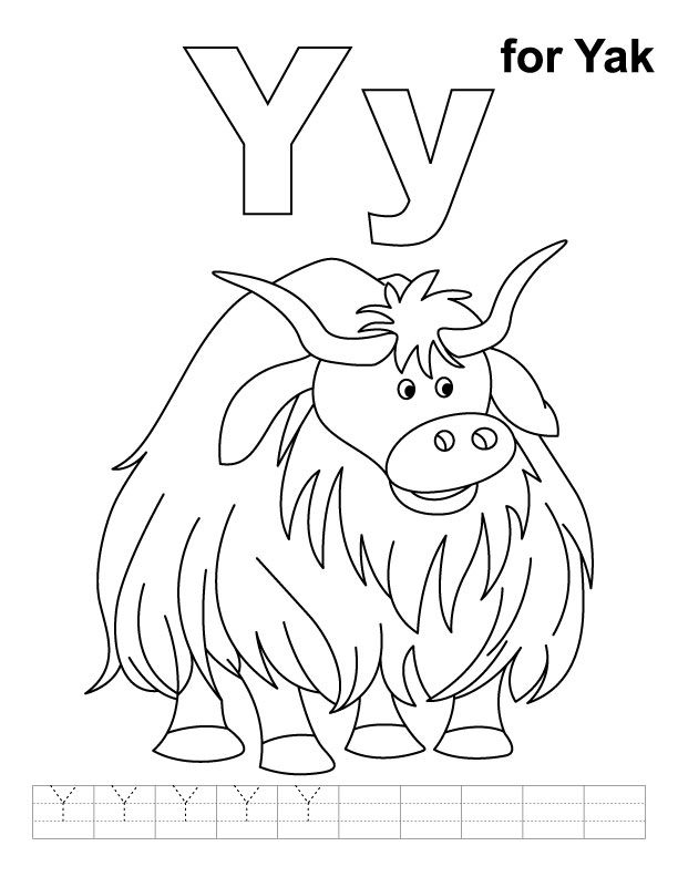 Y for yak coloring page with handwriting practice- link to