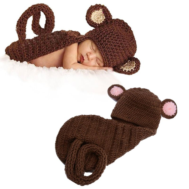 Click to Buy << Handmade Baby Crochet Monkey Set Newborn Monkey Hat ...