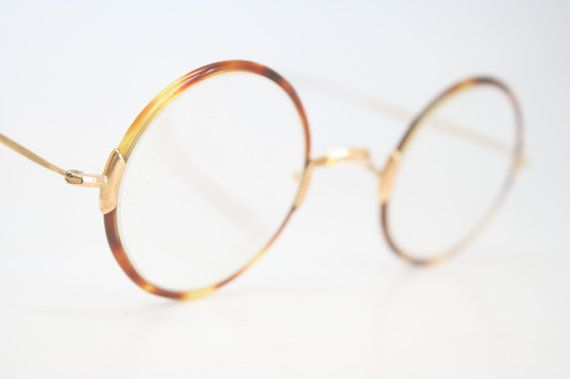 Round Eyeglasses Vintage Eyeglass Frames Gold by AntiqueEyeglasses
