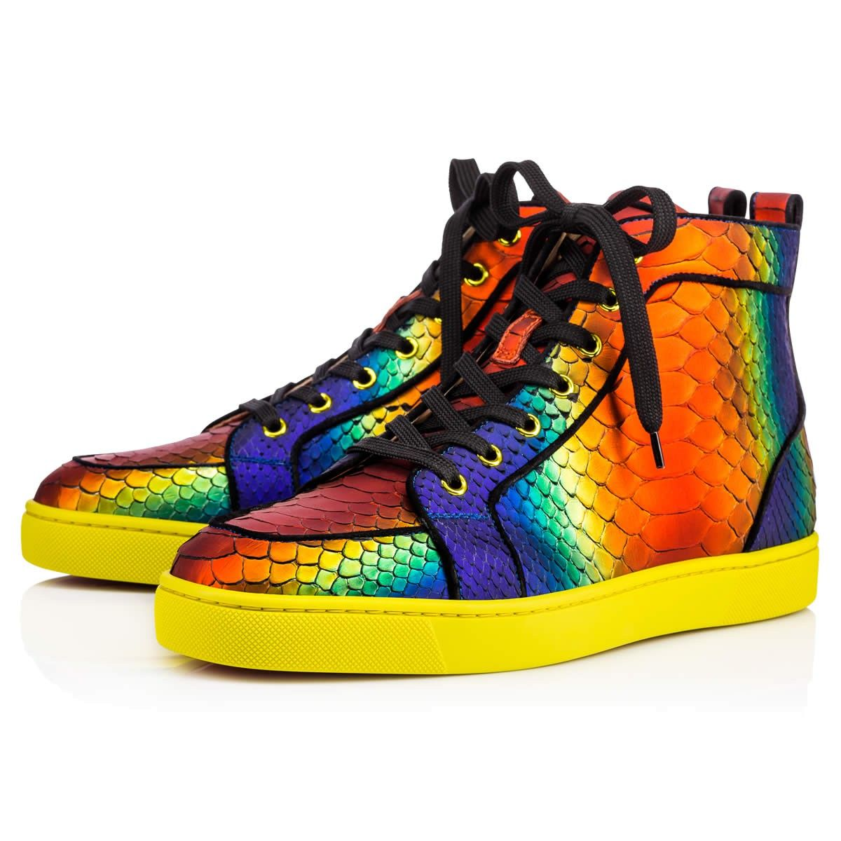 f7378b80548e Christian Louboutin Rantus Orlato Mens Flat sneakers in rainbow python  leather  1995. Rantus Orlato is the hightop sneaker of choice for many.