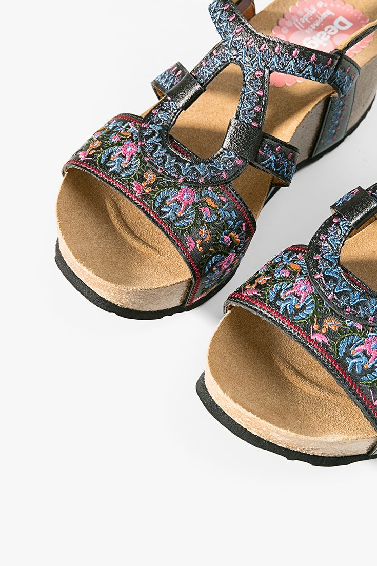 Desigual Black Wedge Sandals With Embroidered Flowers