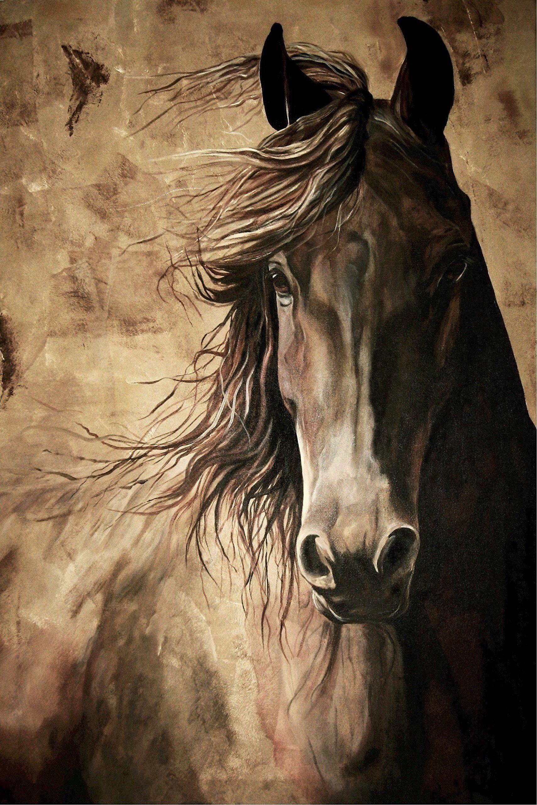 WISDOM - Horse Print 12x18 Inch Friesian Horse Acrylic ...