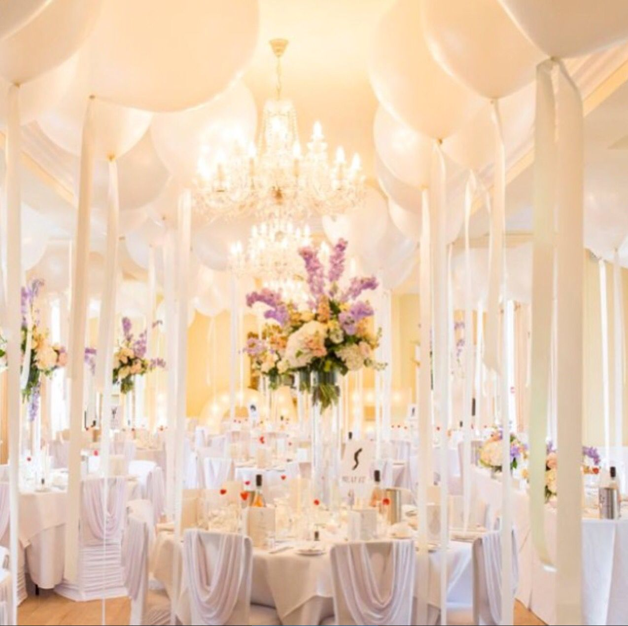 Balloon Decorations For Wedding Reception Ideas: Wedding Decorations, White Balloons, Purple Flowers, White