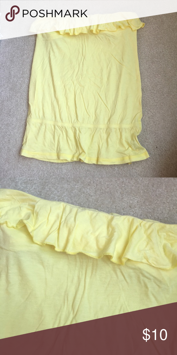 3cb38bc2db American Eagle yellow tube top ruffles at the top! perfect for summer with  some white jeans American Eagle Outfitters Tops