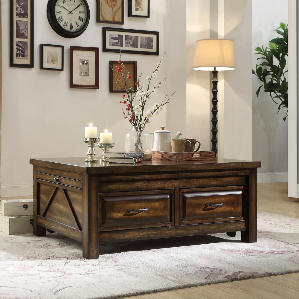 Venetian Worldwide Mucia 48 In Walnut Large Rectangle Wood Coffee Table With Drawers Va 83015 The Home Depot Solid Wood Coffee Table Rectangle Coffee Table Wood Coffee Table [ 1000 x 1000 Pixel ]
