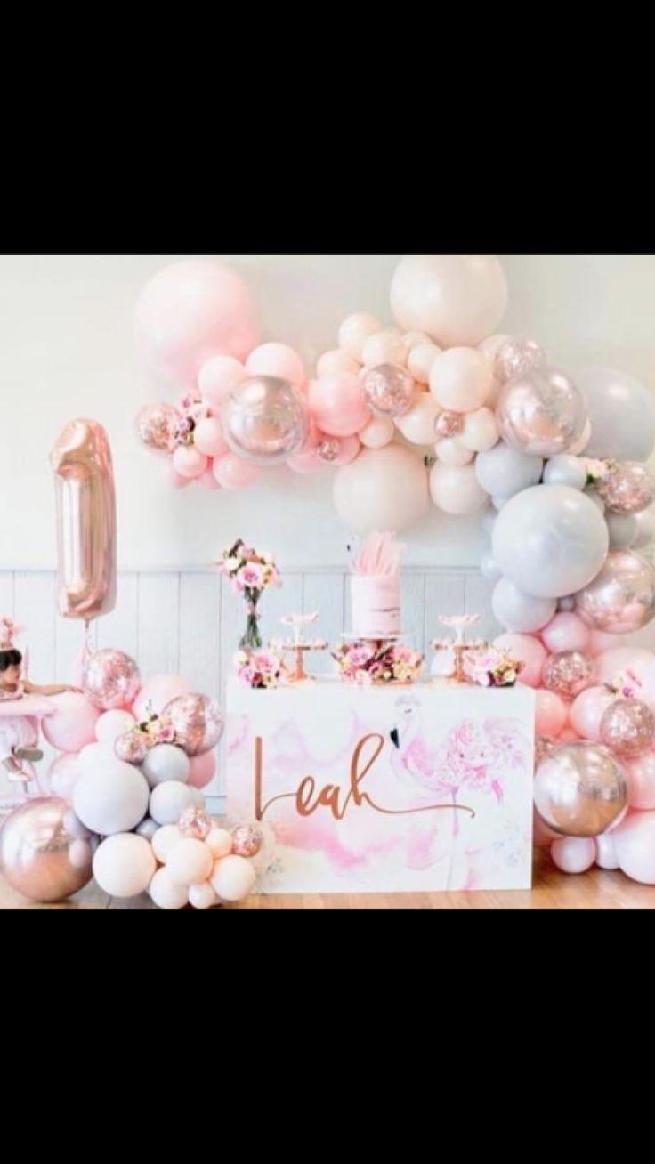 Balloon garland floroal installation floral garland