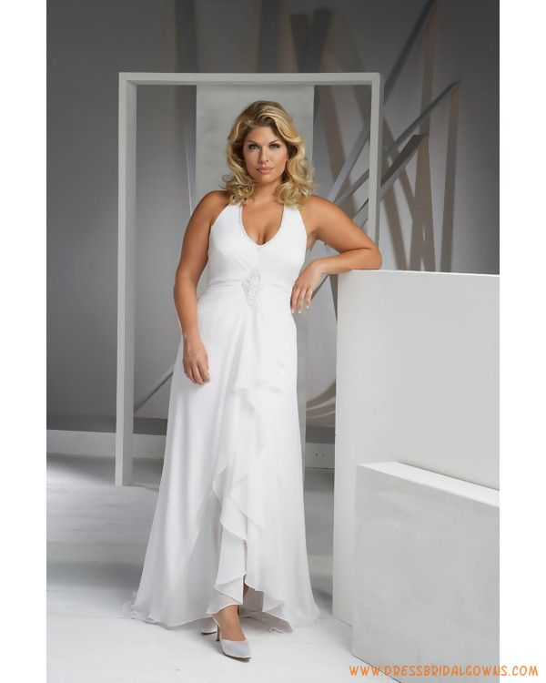 Plus size casual wedding dresses elegant simple halter v for Simple casual wedding dresses