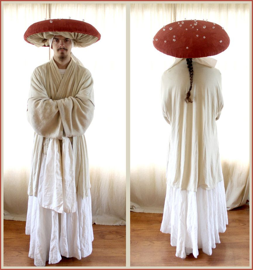 front and back views of the mushroom costume i put together for mark for halloween since the dancing mushrooms in fantasia look oriental since the song
