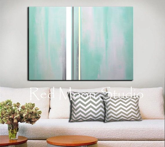 Mint Green And Gray Abstract Art Etsy