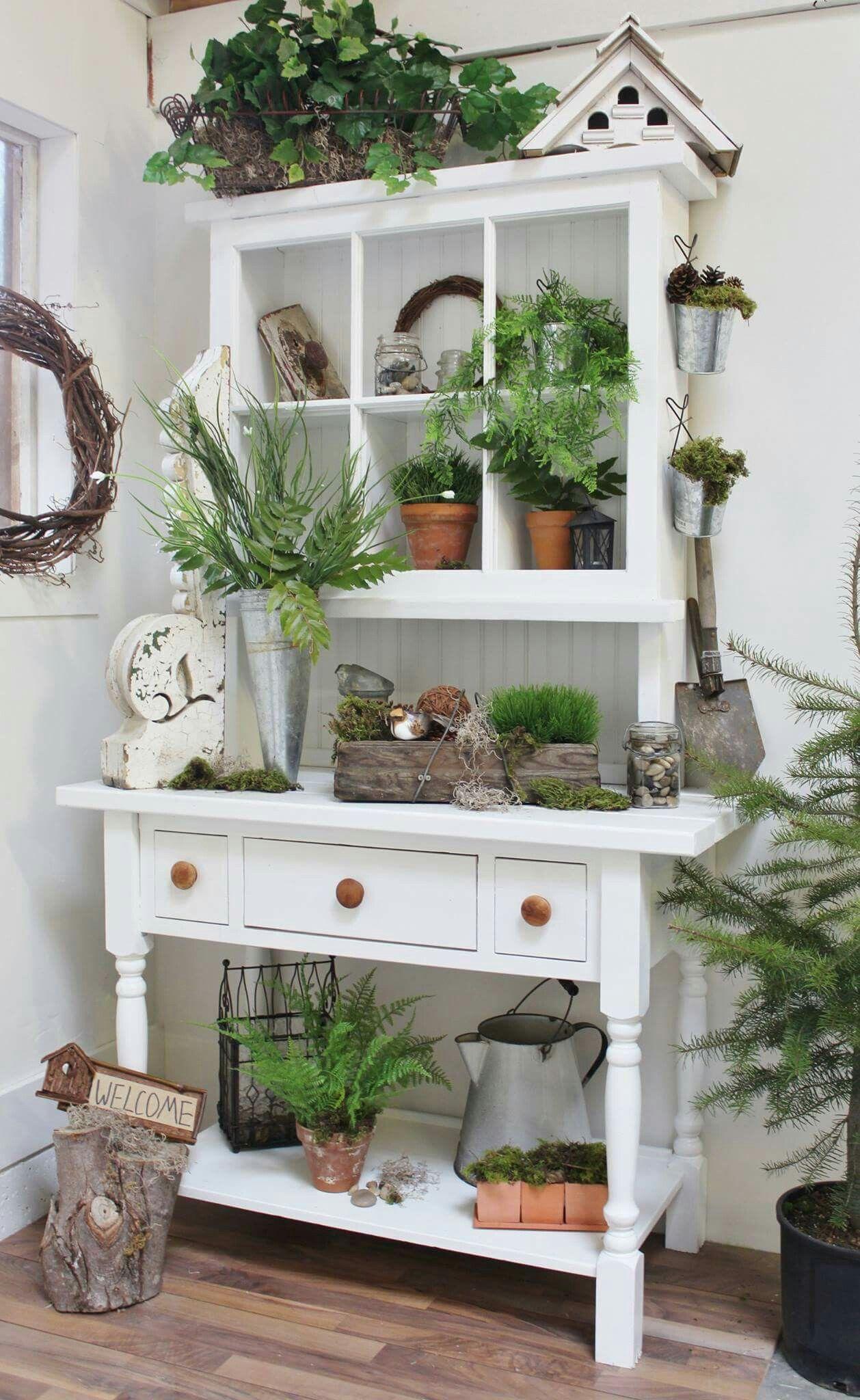 cute potting bench | Garden Decor | Pinterest | Muebles reutilizados ...