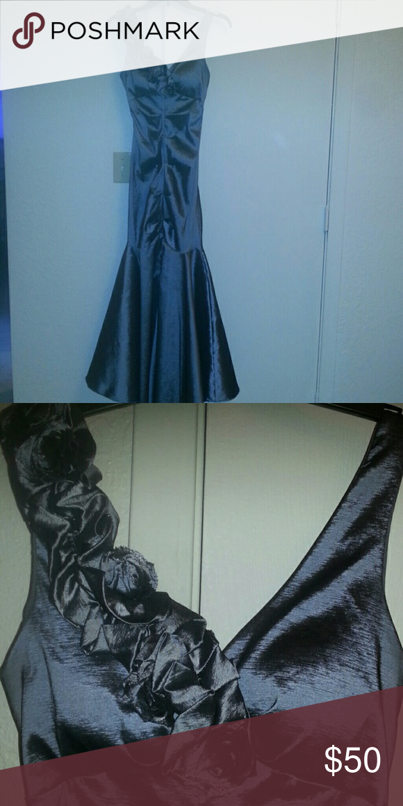 R&M Richards beautiful wedding or prom dress Almost new, Beautiful dark gray satin sheen- look dress (stretch fabric) with roses along left side neckline.padded bra insert. (Do not need a bra.) Tucks down front of dress. Wide skirt about knee length down....Slit up the front (below knees) R & M Richards Dresses Maxi