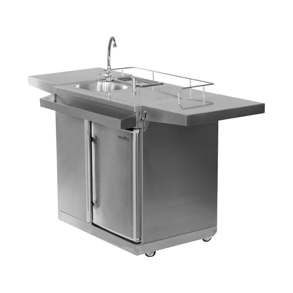 Leisure Season 62 In Stainless Steel Outdoor Kitchen Cart And Beverage Center With Fridge And Sink Okc158 The Home Depot Outdoor Kitchen Sink Outdoor Kitchen Design Outdoor Kitchen Countertops
