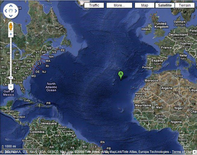 Location of the lost and/or sunken city of Atlantis, according to