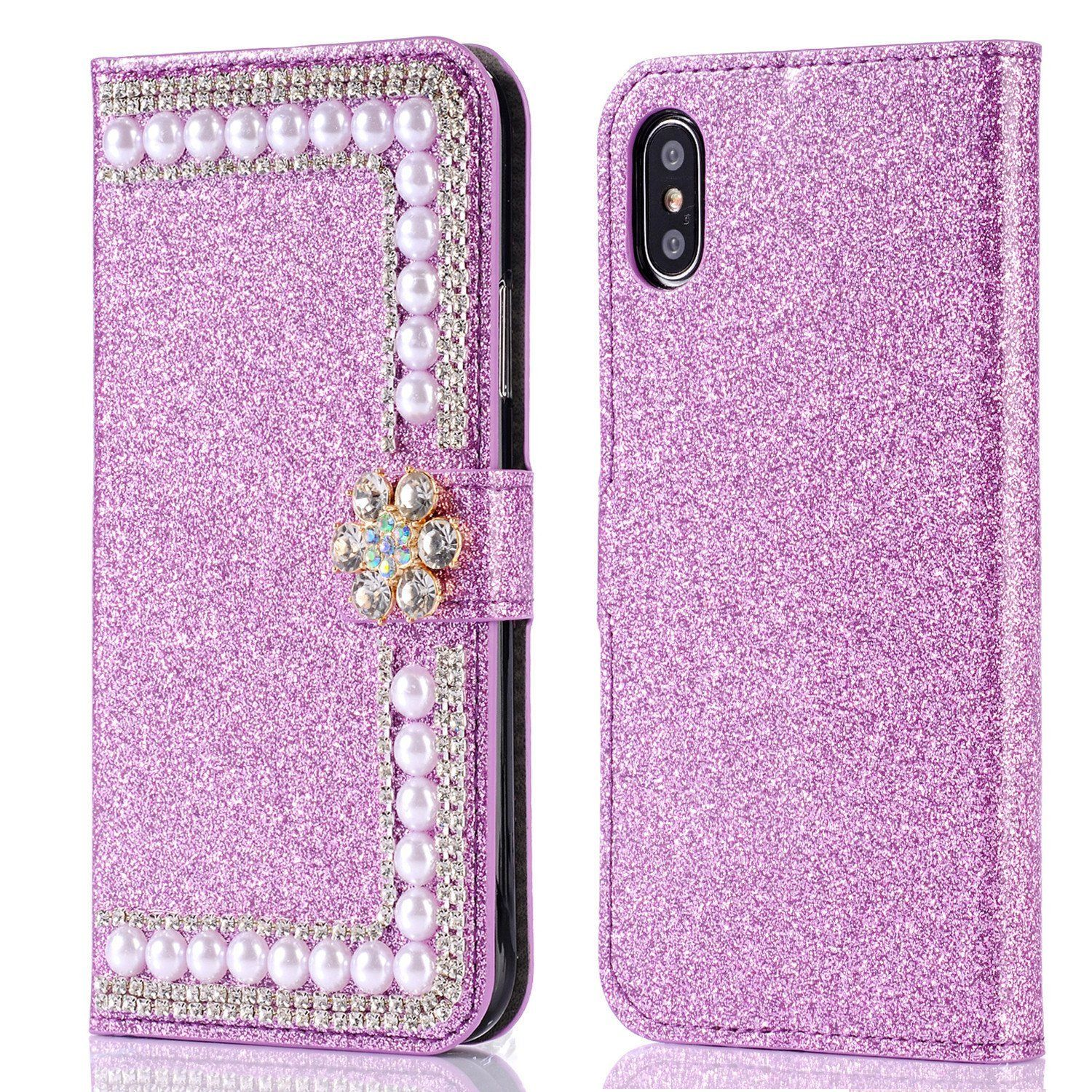official photos 7c364 f39e3 iphone X Wallet Case,iphone 10 Case,Auker Girly Flip Magnetic Bling ...