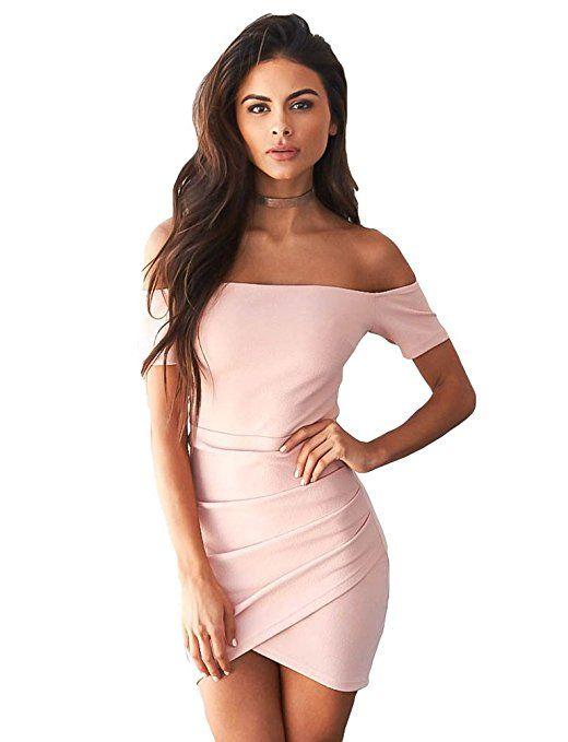 af51c28835 Sentao Damen Schulterfreies Kleid Bodycon Kurz Cocktailkleid Festlich  Partykleid Pink S