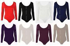 Womens Long Sleeve Stretch Bodysuit Ladies Leotard Body Top Tshirt 8-14