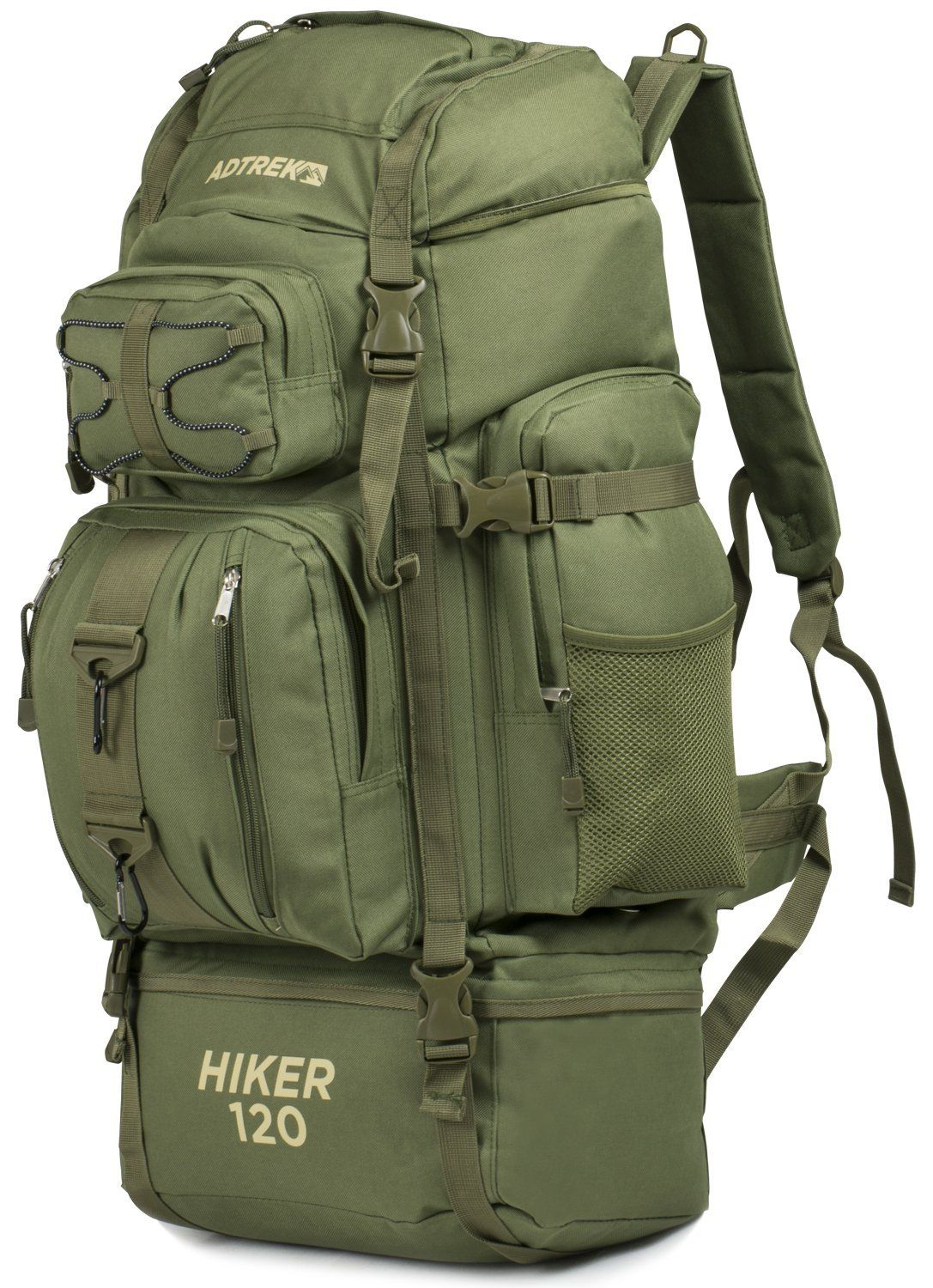 780dba4f673c Adtrek Olive Green 120L Hiker Backpack Extra Large Hiking Camping Luggage  Rucksack  Amazon.