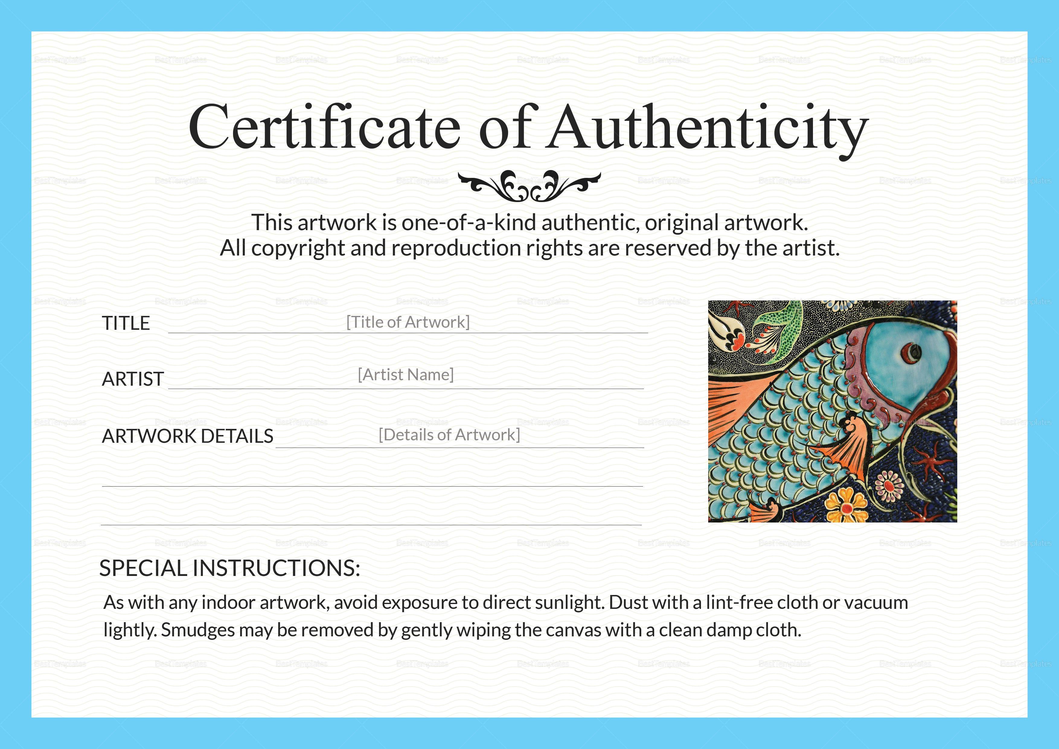 Artwork Authenticity Certificate Template Art Certificate