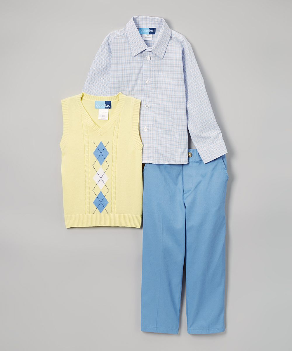 Good Lad Yellow & Blue Sweater Vest Set - Toddler & Boys | Vests ...