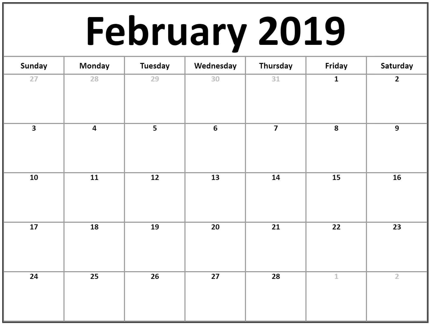 Printable Calendar Pages February 2019 february 2019 calendar calendar template printablefebruary 2019