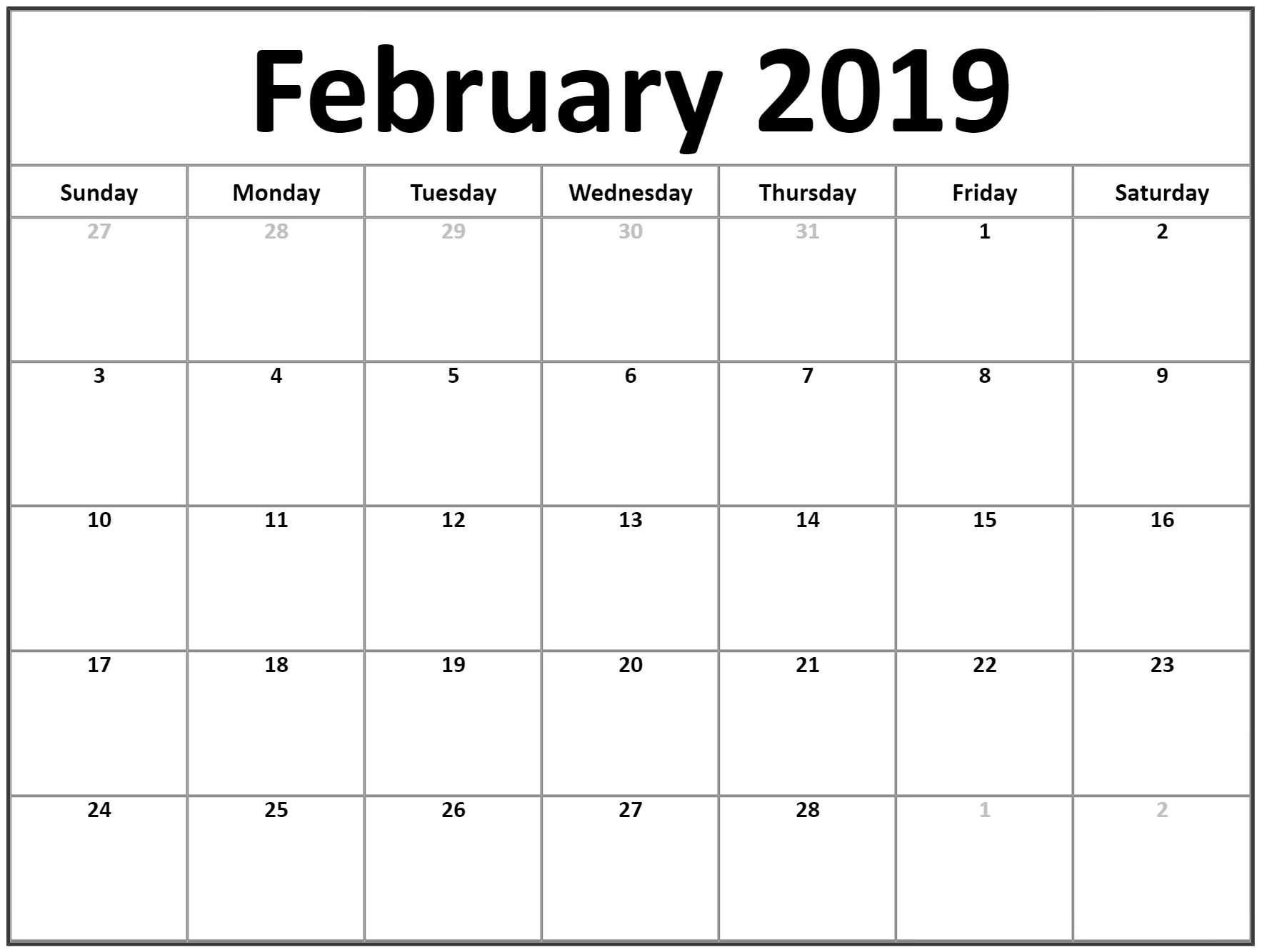 2019 Calendar Template Printable february 2019 calendar calendar template printablefebruary 2019