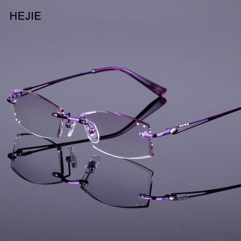 8df1d188316 Elegant Woman Pure Titanium Rimless Eyeglasses Frames Brand Myopia Glasses  Frame For Women Purple Size 52-17-138mm Y1039