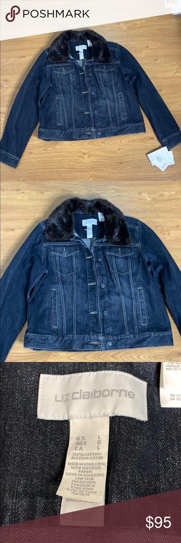 Liz Claiborne Jean Jacket Size L Detachable Fur Liz Claiborne Jackets Jean Jacket [ 1740 x 580 Pixel ]