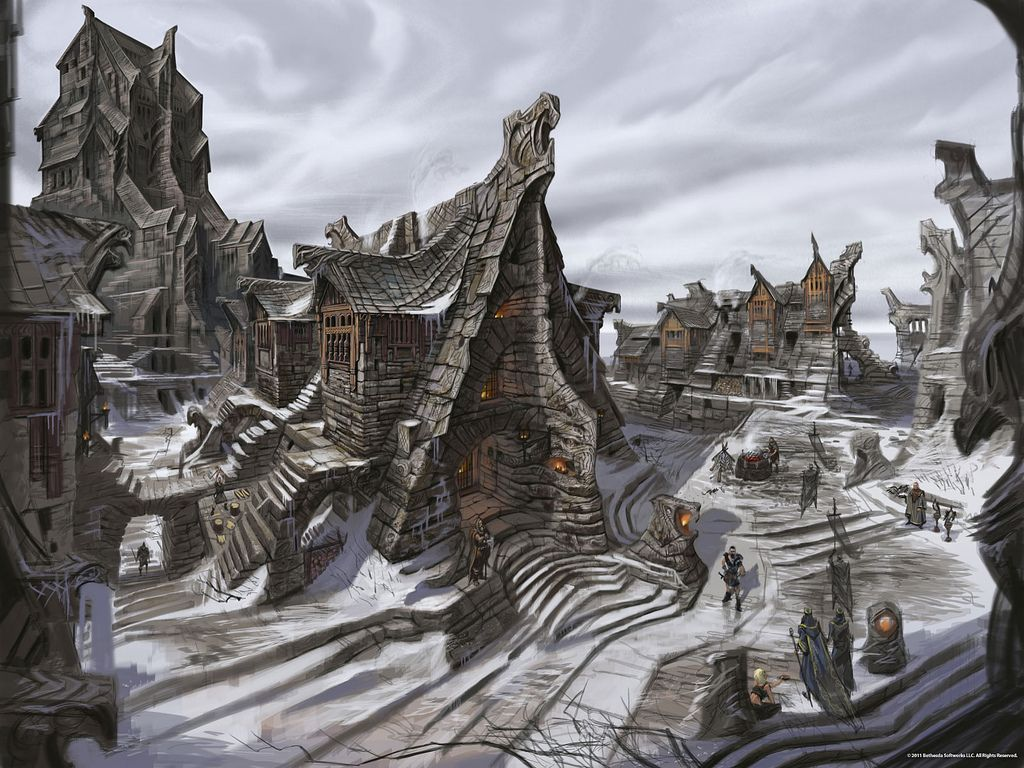 Windhelm Street The Elder Scrolls Flickr Skyrim Art Skyrim Concept Art Elder Scrolls Art