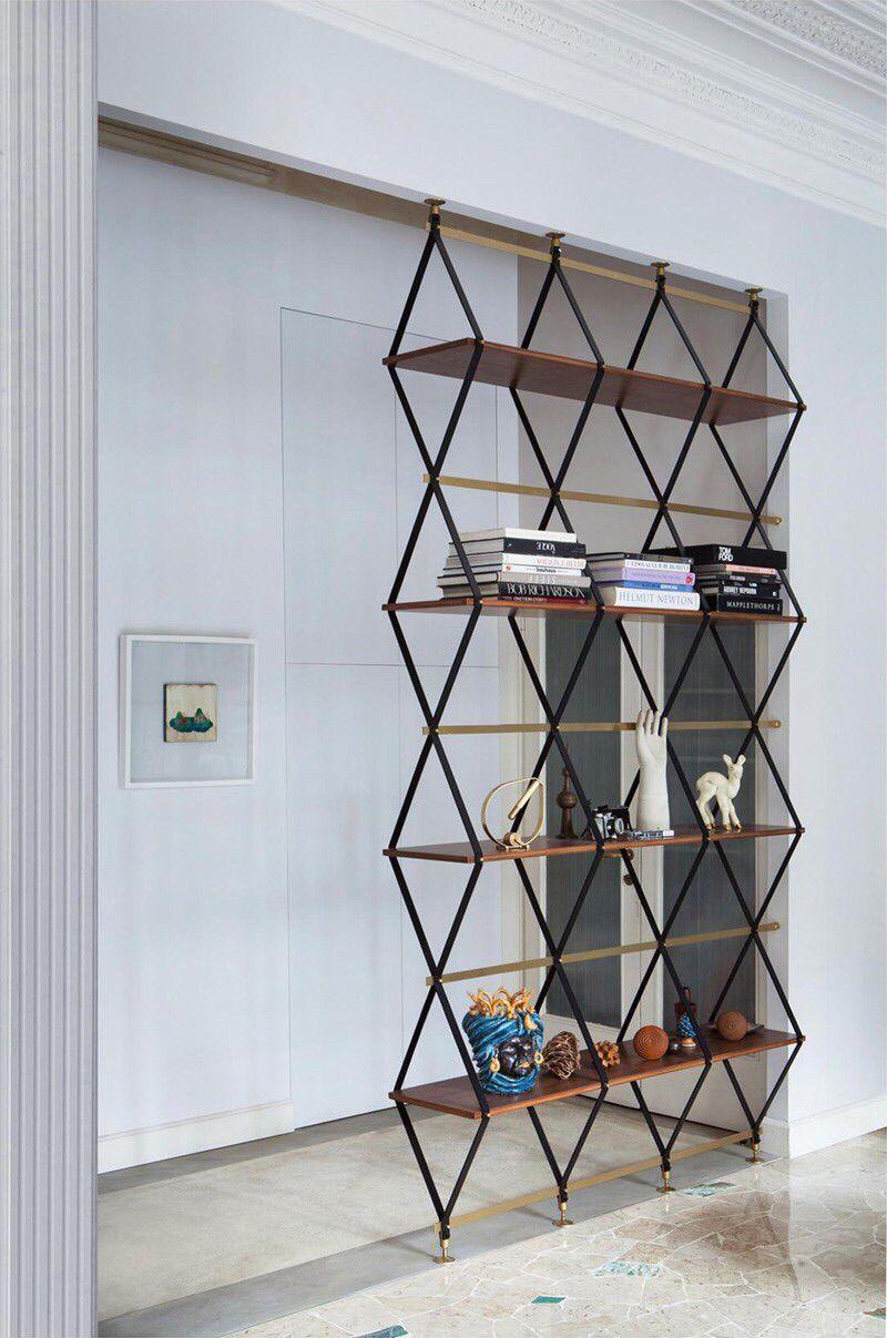 Estantería moderna madera y hierro pinterest interiors