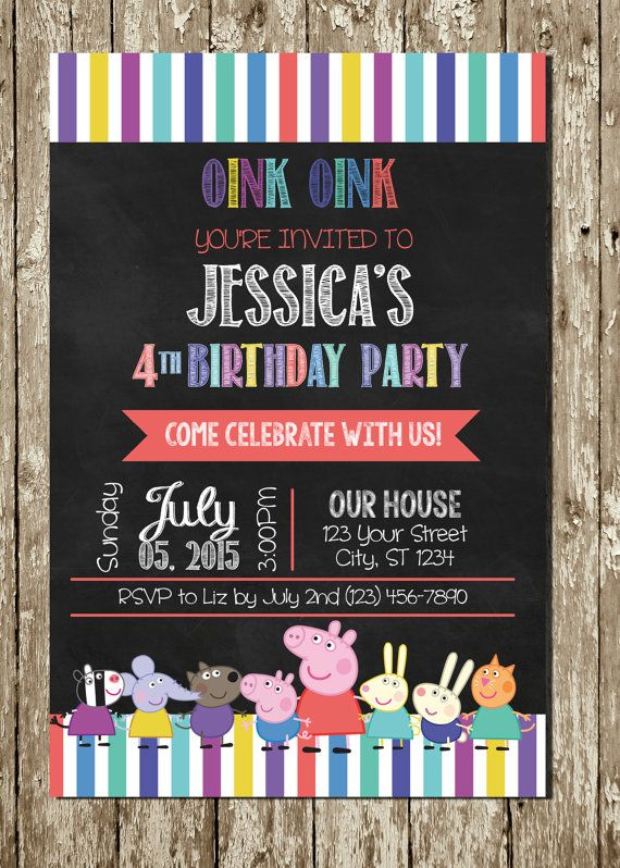 Peppa Pig Chalkboard Personalized Printable By PartyCreations4u