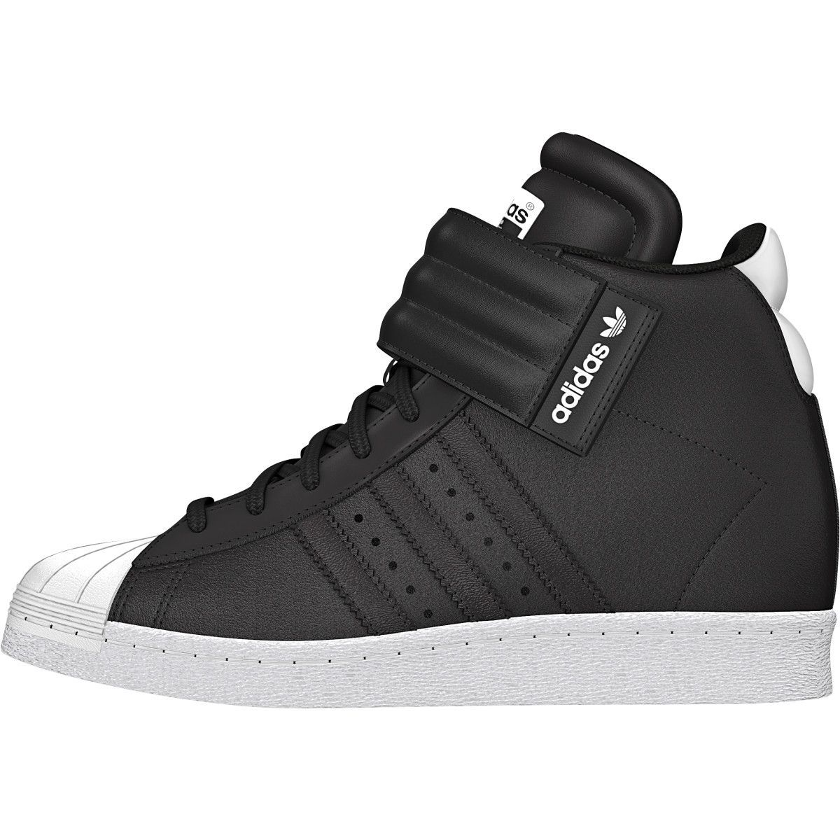 Adidas Originals Superstar UP Strap W Black White fashion wedge sneakers