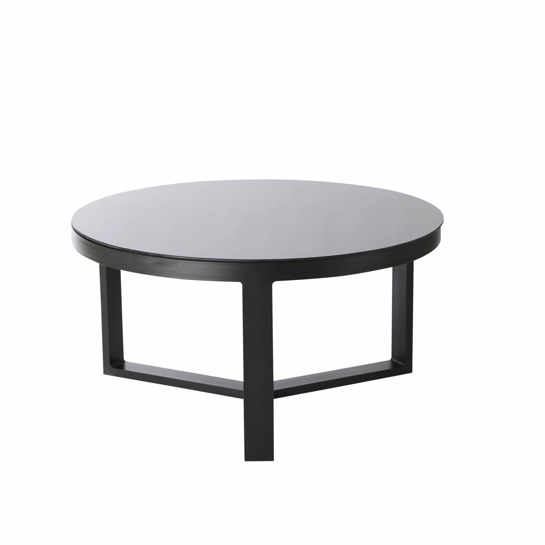 Table Basse De Jardin Ronde En Aluminium Et Verre Trempe Noir