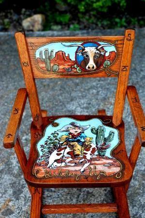 Childrens Rocking Chair, Hand Painted By Latasha