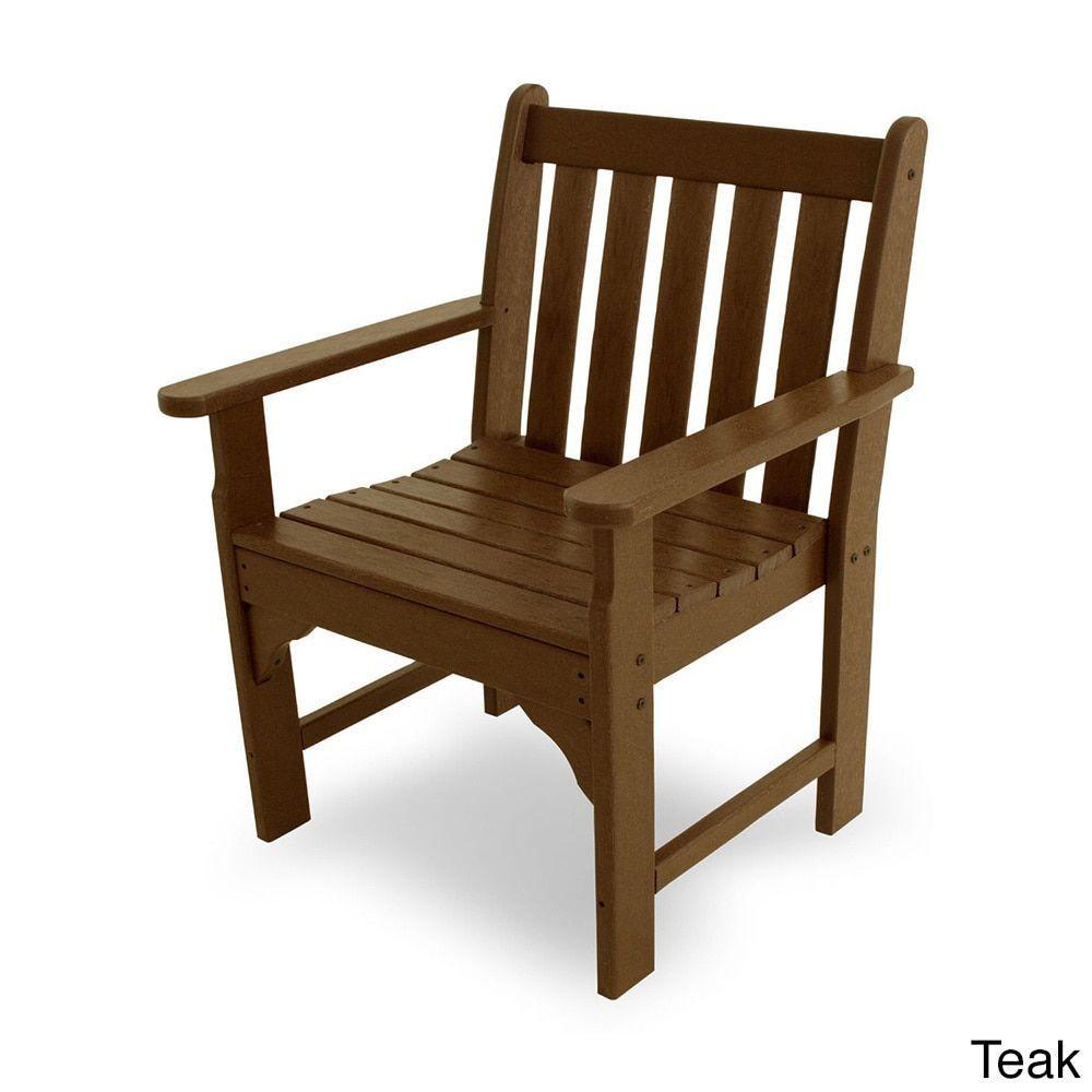 Polywood Vineyard Polyethylene Garden Arm Chair (Teak), Brown, Patio  Furniture (Plastic - Polywood Vineyard Polyethylene Garden Arm Chair (Teak), Brown, Patio